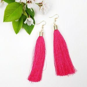 Hot Summer Pink Tassel Fringe Earrings